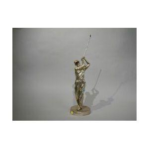 Silvered Bronze Golfer Figure.
