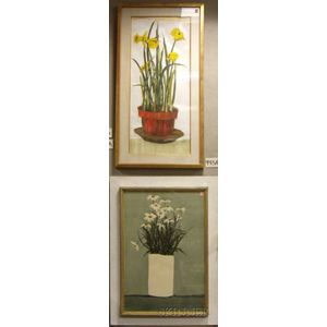 Lot of Two Framed Floral Works by Roy Bailey (American, 20th Century):