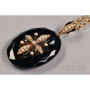 Antique Onyx and Split Pearl Pendant