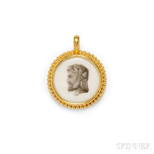 19kt Gold and Ceramic Pendant, Elizabeth Locke