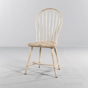 White-painted Bow-back Windsor Side Chair