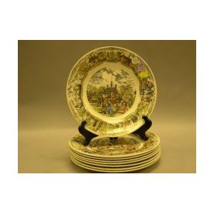 Set of Eight Wedgwood State of Virginia Transfer Decorated Commemorative Ceramic Plates.