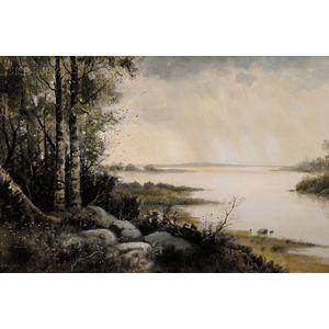 Samuel R. Chaffee (American, b. 1850)      The Quiet Lake Shore