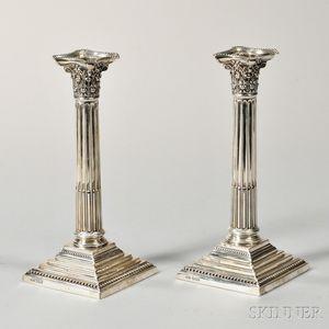 Pair of Elizabeth II Sterling Silver Candlesticks