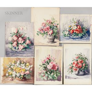 Polly Nordell (American, 1876-1958)    Six Unframed Floral Watercolors