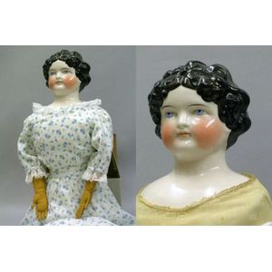 """Very Large Pink Tint """"Dolley Madison"""" China Shoulder Head Doll"""