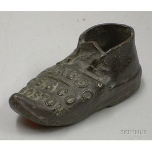 """Small Glazed Molded Redware """"A.D. 1690, C.B. & Co., Boston"""" Figural Shoe   Advertising Paperweight"""