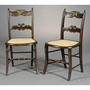 Pair of Grain-painted, Gilt, and Carved Fancy Chairs