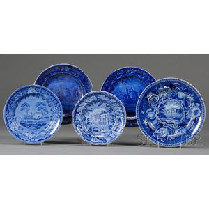 Five Blue Transfer-decorated Staffordshire Pottery Plates
