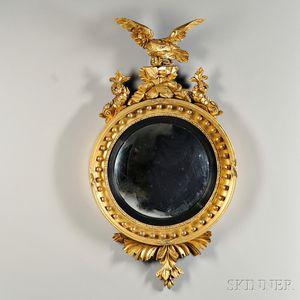 Regency Giltwood and Part-ebonized Girandole Mirror