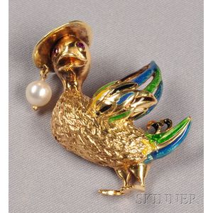 18kt Gold and Enamel Duck Brooch