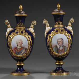 Pair of Sevres-style Porcelain Portrait Vases and Covers