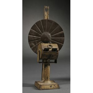 Mustard-painted Tin Chamberlain Patent Lard Oil Lamp
