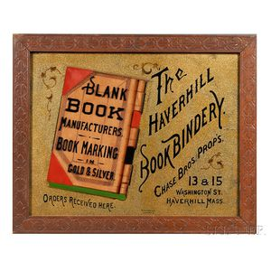 "Reverse-painted Glass ""HAVERHILL BOOK BINDERY"" Sign"