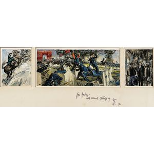 Robert Fawcett (American, 1903-1967)      Three Illustrations Relating to the Battle of Gettysburg