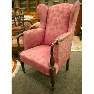 Federal-style Upholstered Mahogany Easy Chair.