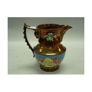 Large Copper Lustre Pitcher with Dolphin Handle.