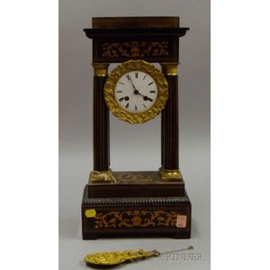 French Marquetry Pillar Mantel Clock