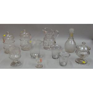 Ten Pieces of 19th Century Colorless Blown and Molded Glassware