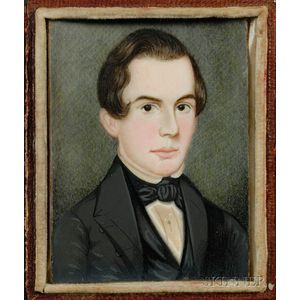 Portrait Miniature of a Young Gentleman Dressed in Black Coat