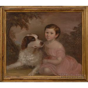 American School, 19th Century      Portrait of a Child in a Landscape with His Dog.
