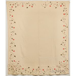 Seamed Wool Crewel-embroidered Blanket
