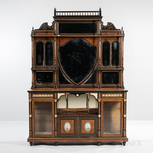 Louis XVI-style Ebonized and Painted Ormolu-mounted Display Cabinet