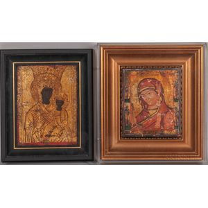 Two Eastern European Icons Depicting the Virgin Mary