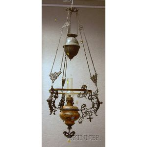 Victorian Cast Iron Hanging Lamp with Hungarian-type Decorated Ceramic Kerosene Font and an Opaque Glass Dome Shade.