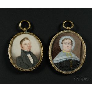 Two Portrait Miniatures of a Gentleman and a Lady