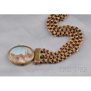 Antique 14kt Gold and Grand Tour Miniature Bracelet
