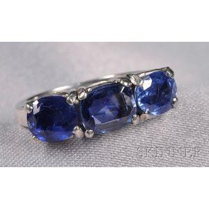 Platinum and Sapphire Three-stone Ring