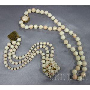 Vintage Angelskin Coral Bracelet, Possibly Miriam Haskell