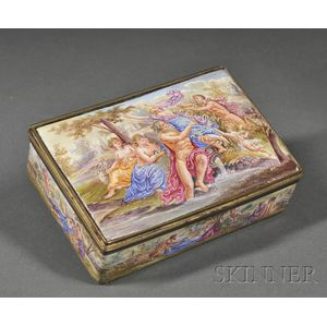 Austrian Copper Enamel and Silver-gilt Mounted Box