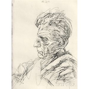 Avigdor Arikha (French/Israeli, 1929-2010)      Samuel Beckett in Profile
