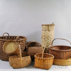 Eight Mostly Woven Splint Baskets.     Estimate $300-500