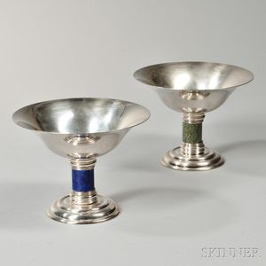 Two French Art Deco Silver-plate Compotes