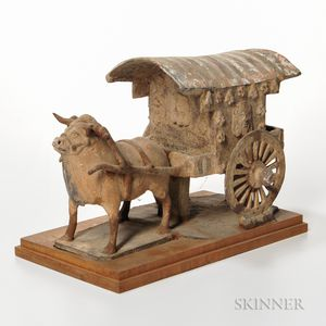 Painted Stoneware Model of an Ox-drawn Cart