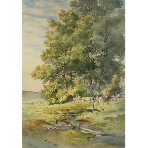Theodore Otto Langerfeldt (American, b. 1841)  Along the Brook