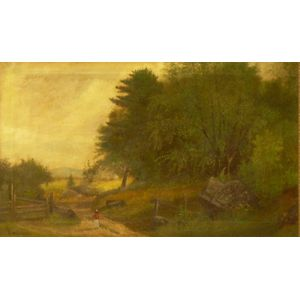Framed Oil on Canvas Pastoral Scene Attributed to Samuel W. Griggs   (American, 1827-1898)