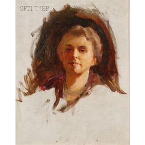 Cecilia Beaux (American, 1855-1942)      Portrait Sketch of a Woman