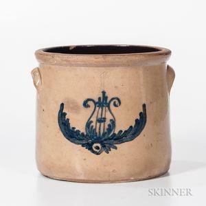 One-gallon Cobalt-decorated Stoneware Crock