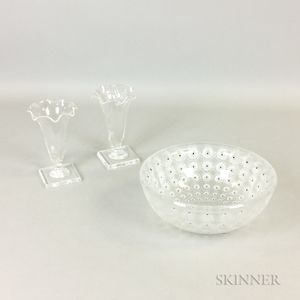 "Lalique ""Nemours"" Frosted Glass Bowl and a Pair of Steuben Colorless Glass Cornucopia Vases"