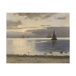 Carl Ludvig Thilson Locher (Danish, 1851-1915)  Meeresufer mit Seglern