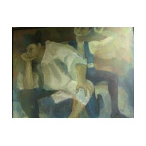 Large Framed Oil of Two Male Figures