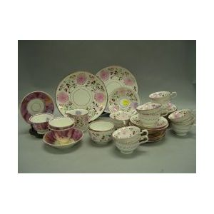 Forty-three Pieces of English Pink Lustre Tea Ware.