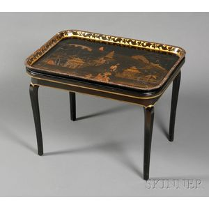 Chinoiserie Decorated Black Lacquer Tray on Stand