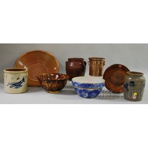 Eight Pieces of Decorated and Glazed Domestic Ware