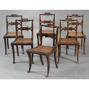 Set of Six Classical Carved and Grain-painted and Gilt Decorated Chairs