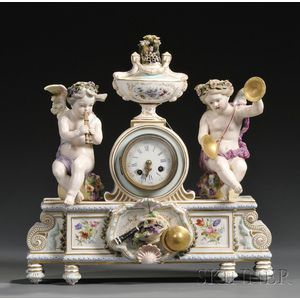 German Porcelain Figural Mantel Clock
